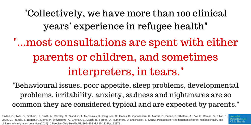 26 paediatricians describe their experiences caring for children in detention