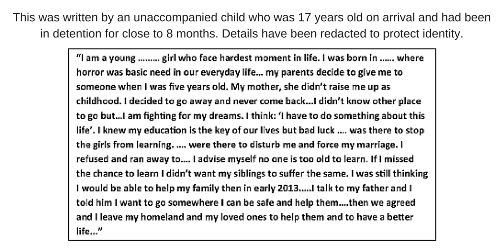 17 year old describes her experience of arriving in detention